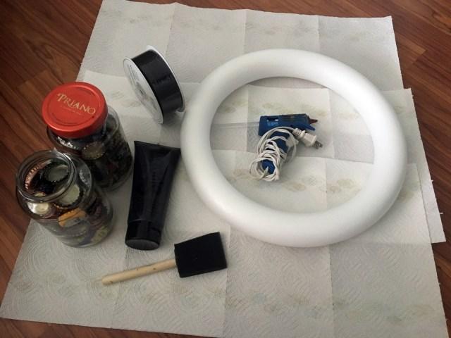 bottle cap wreath supplies