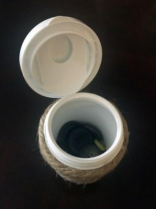 button storage gum container