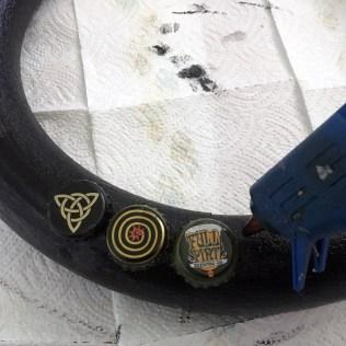 glued on beer bottle caps
