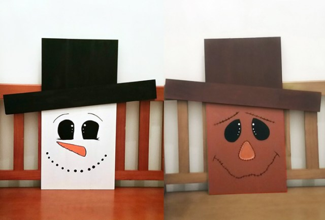 scarecrow and snowman reversible holiday decor