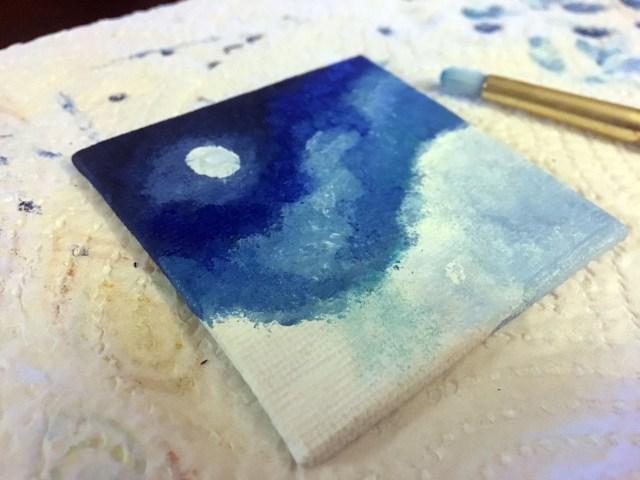 snow scene painting
