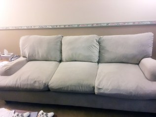 re-stuffed couch cushions