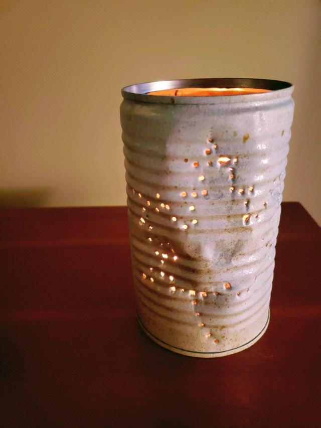 Fall tin can lantern