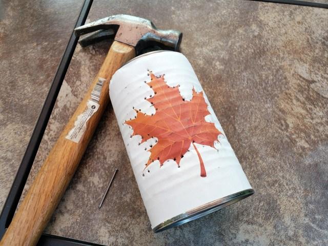 hammered tin can fall lantern