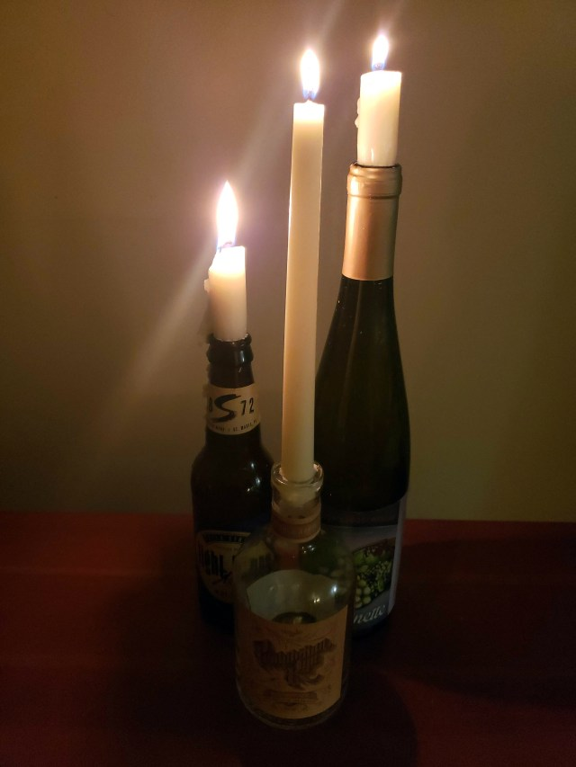 diy candlestick holder from alcohol bottles