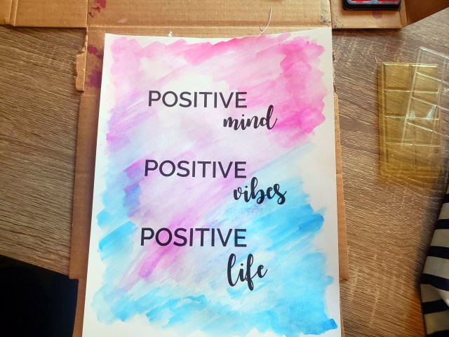 diy watercolor positive quote poster