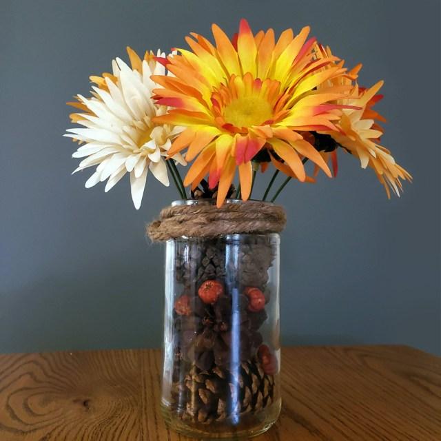 diy fall vase with pinecones