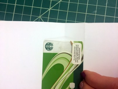 Paper fold location for gift card holder