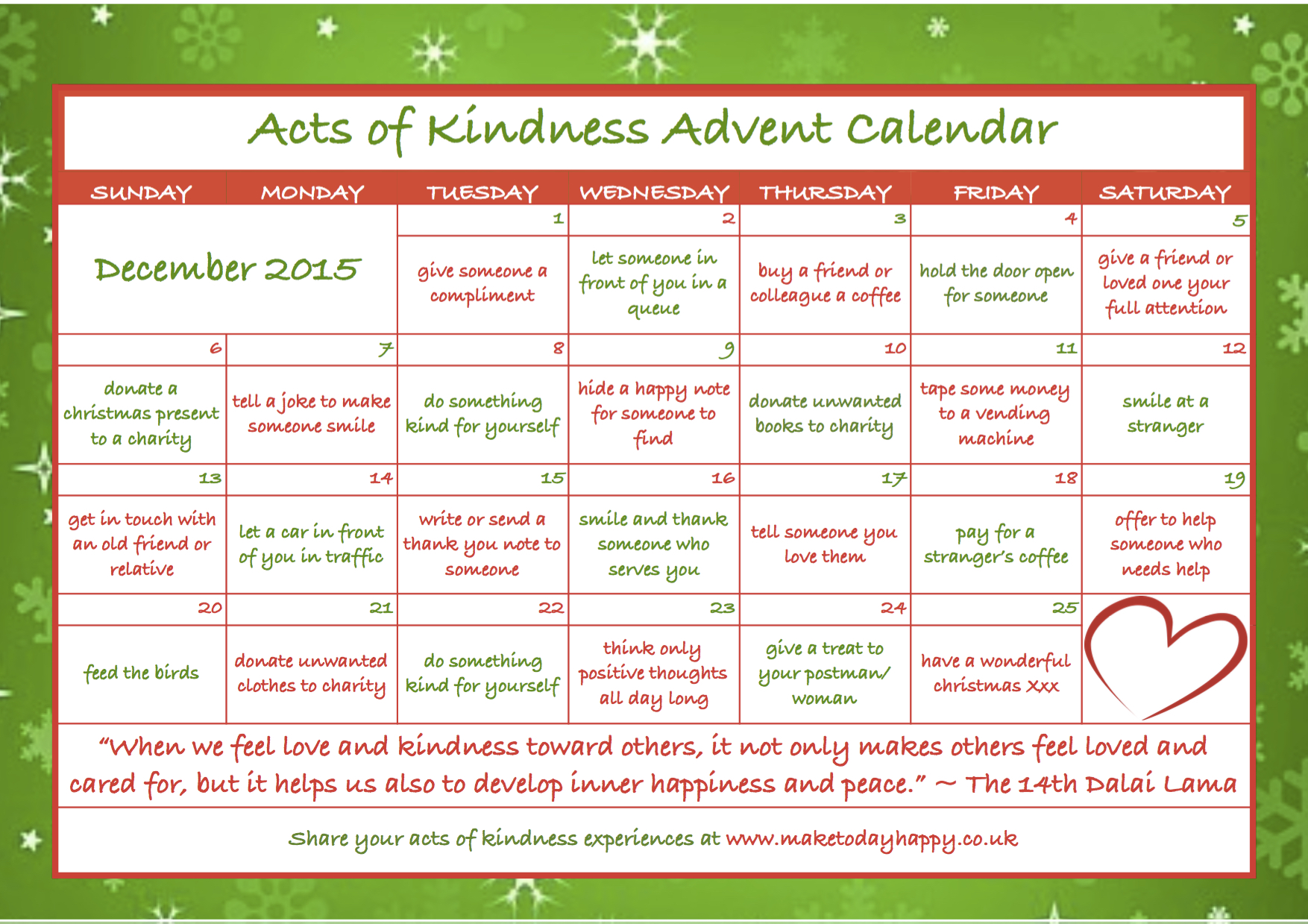 Day 83 kindness advent calendar 2015 make today happy acts of kindness advent calendar by maketodayhappy solutioingenieria