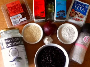 Feta and Black Bean Burgers ingredients