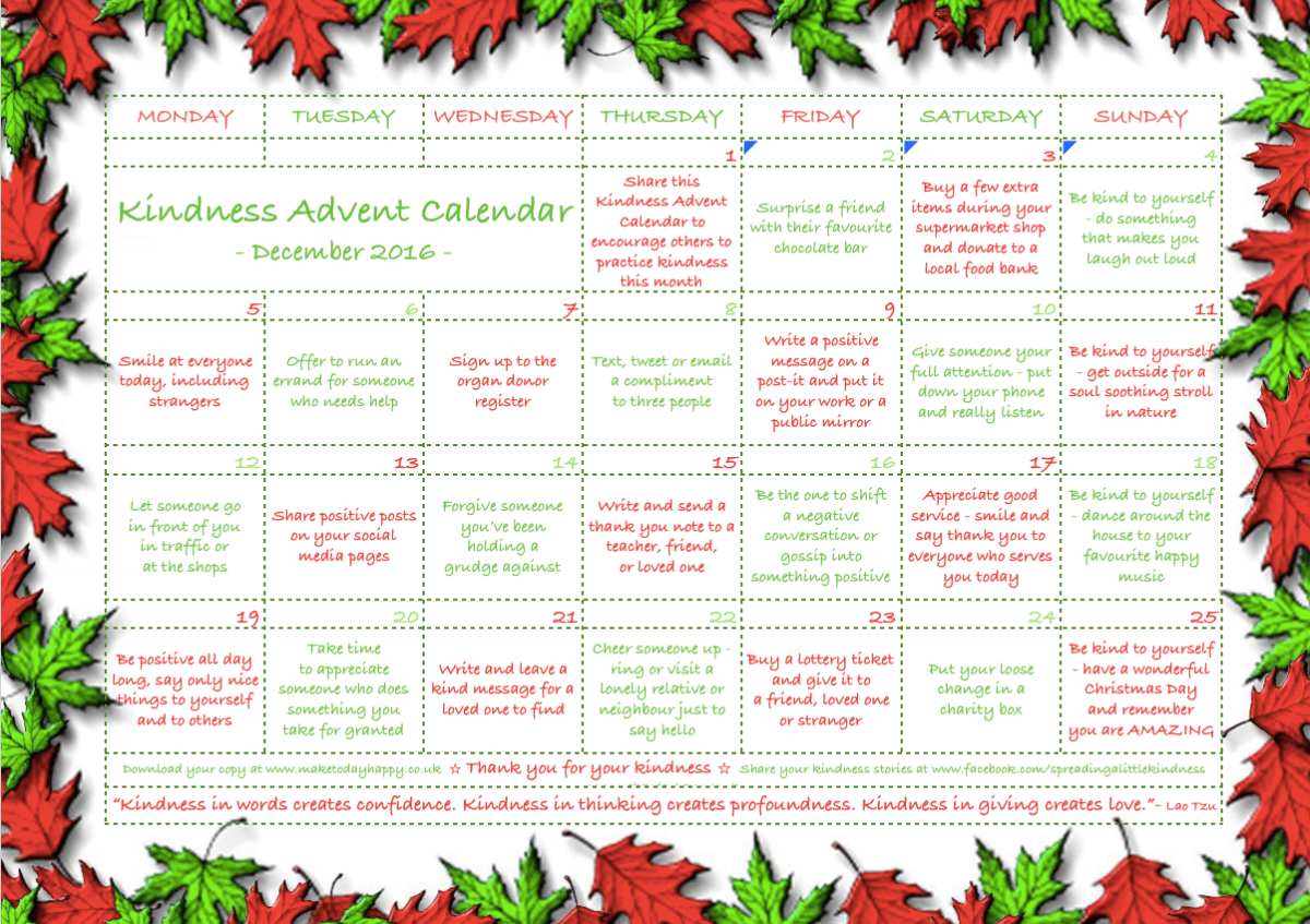 Image result for kindness + advent calendar