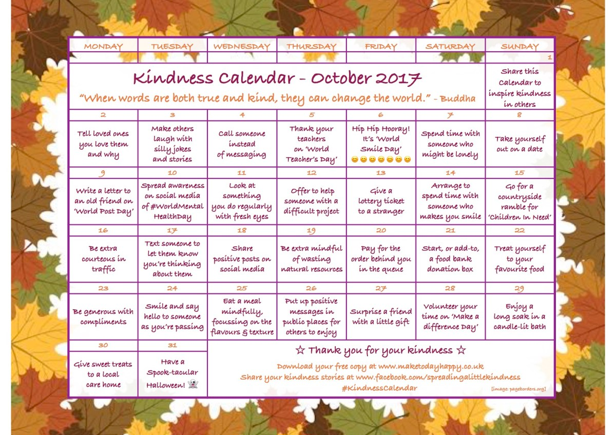 Kindness Calendar: October 2017