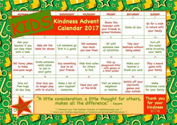 advent of kindness calendar 2020