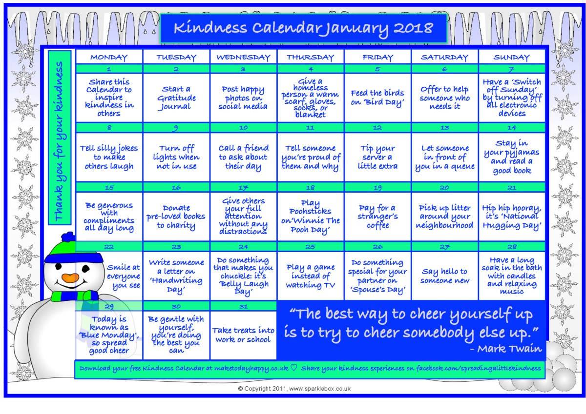 Kindness Calendar: January 2018