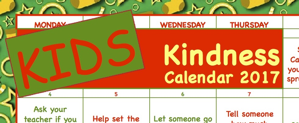 Kindness Calendar for KIDS: generic, non-Christmas version