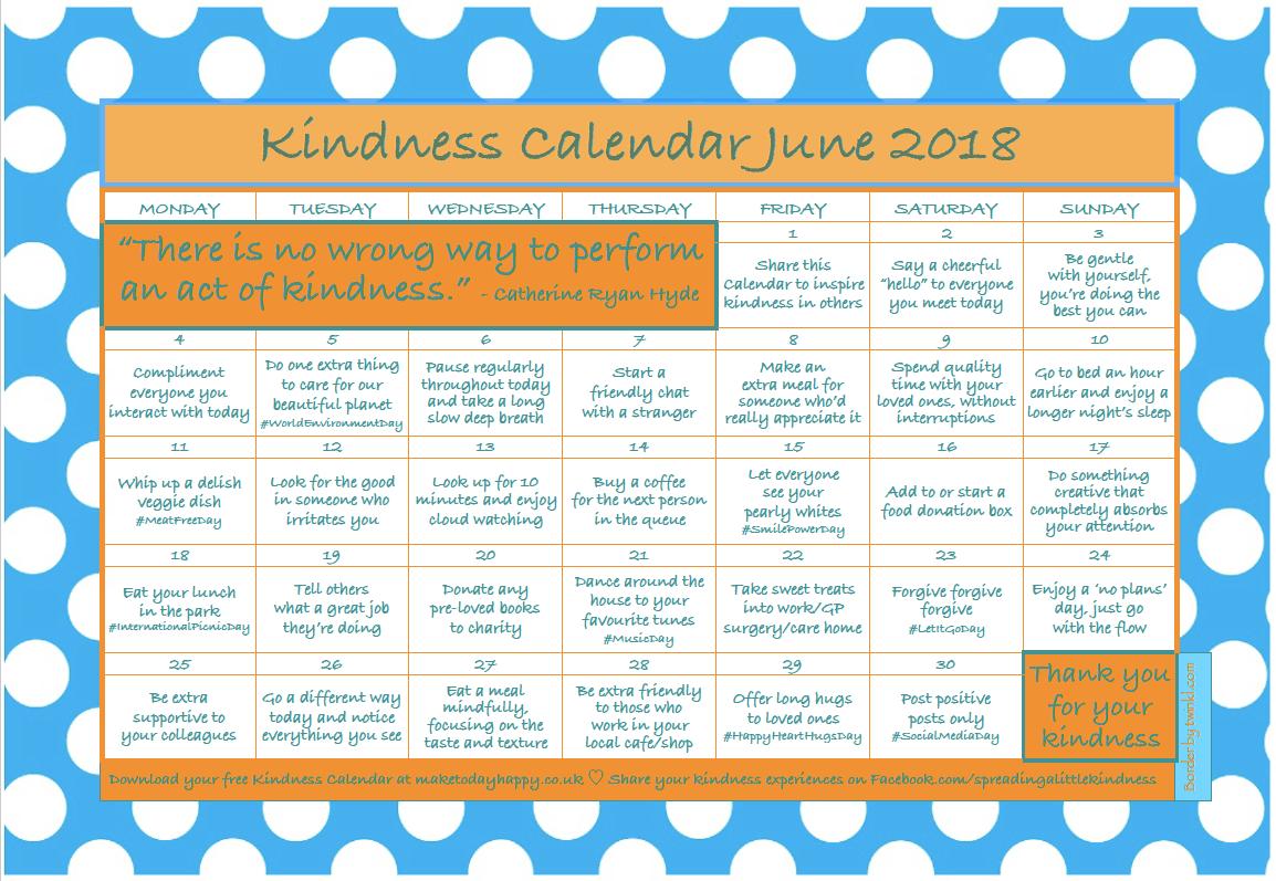 Kindness Calendar: June 2018