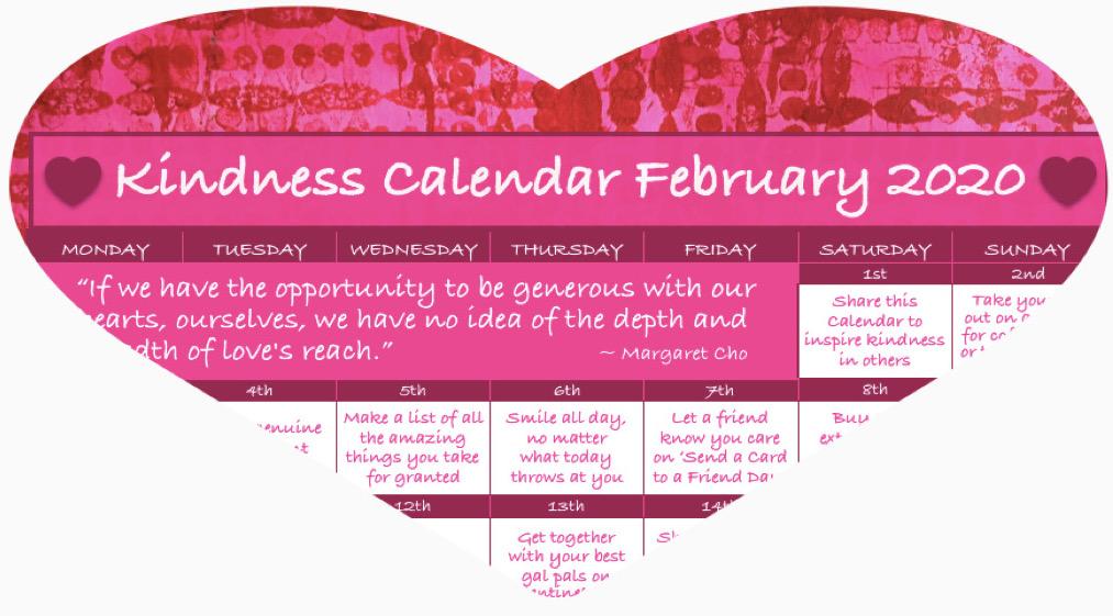 Kindness Calendar February 2020