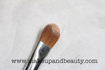 powder on flat brush