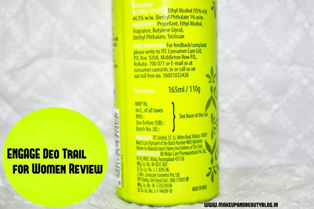 ITC Engage Bodylicious Deo Spray for Women: Trail Review