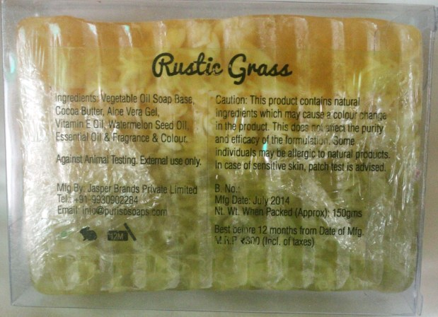 Puriso Handcrafted Soap- Rustic Grass Review