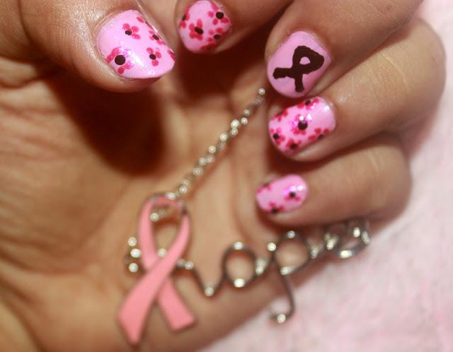 Breast Cancer Awareness Ribbon Nail Art