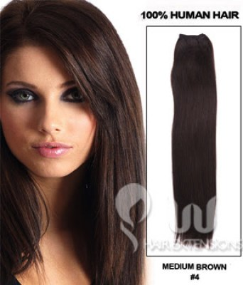 24 inch Medium Brown(#4) Straight Indian Remy Hair Weave
