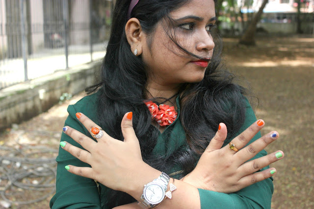 Indian Independence Day Nail Art