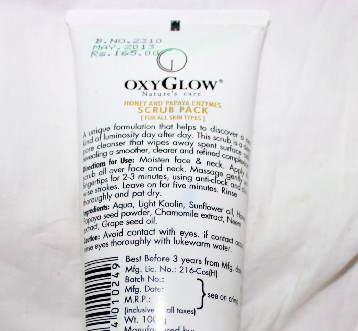 Oxyglow Honey & Papaya Enzymes Scrub Review