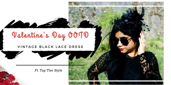 Valentine's Day OOTD // Vintage Black Lace Dress