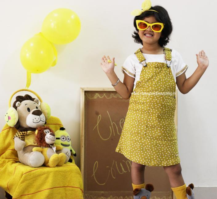 Kids Summer OOTD Mustard Dungaree Dress + Yellow + White - Cherry Crumble