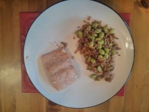 Salmon, edamame, and spelt