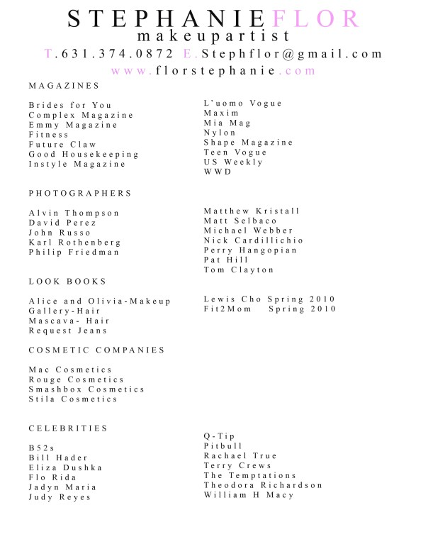Resume Makeup Artist Stephanie Flor