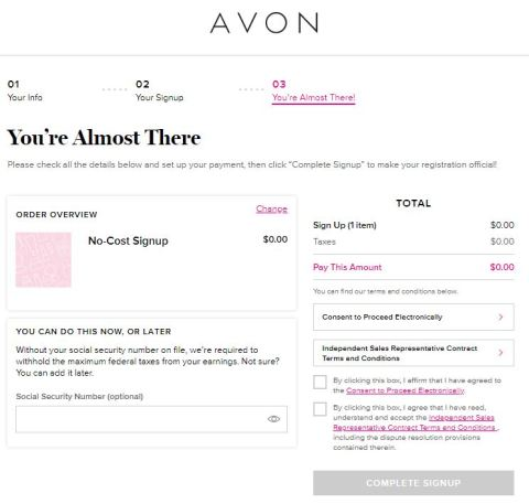 Join Avon at No Cost