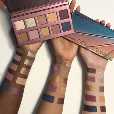 Lorac Unzipped Ocean Sunset Swatches