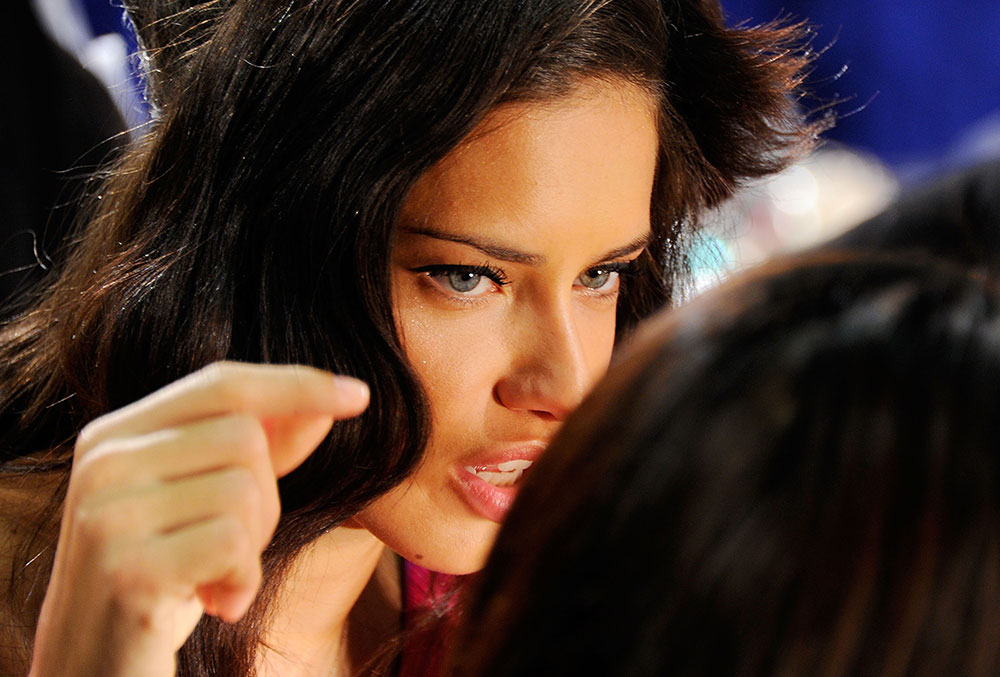 Adriana Lima at Victoria's Secret 2011 Fashion Show Backstage getting her makeup done