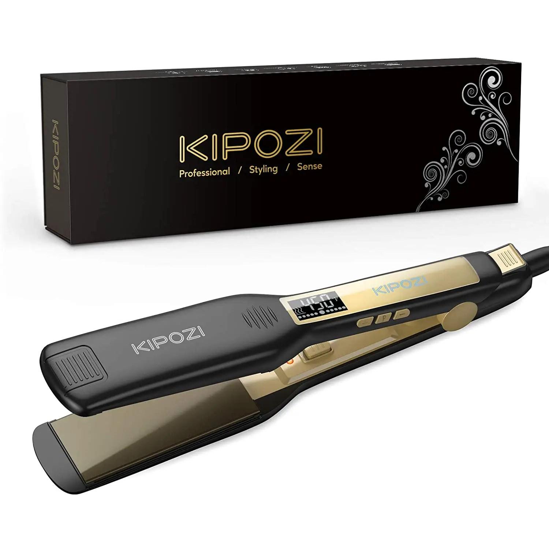 KIPOZI Professional Titanium Flat Iron Hair Straightener with Digital LCD Display, Dual Voltage, Instant Heating