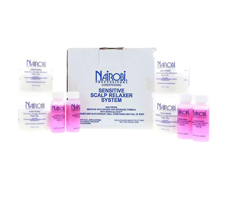 Nairobi Conditioning Sensitive Scalp Hair Relaxer Kit, 4 Count by Nairobi
