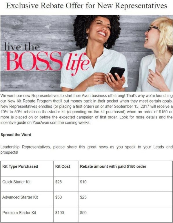 Exclusive rebate offer for new representatives - we want our new representatives to start their avon business of strong!Thats why were launching our new kit rebate program thatll put money back in their pocket when they meet certain goals.