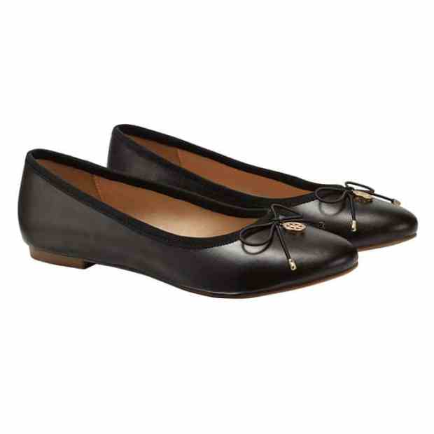 Cushion Walk© Black Ballet Flat with Charm Detail