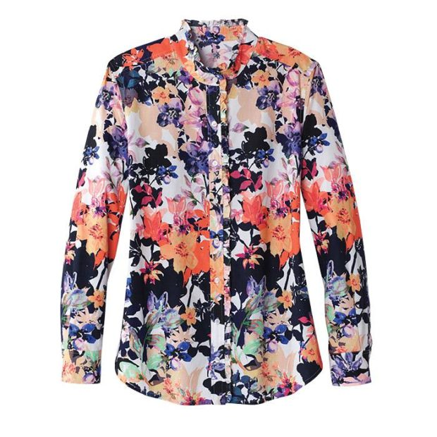 Spring Fashion - Avon Campaign 4, 2018 - Mia Ruffle Shirt in Savannah Bloom Print