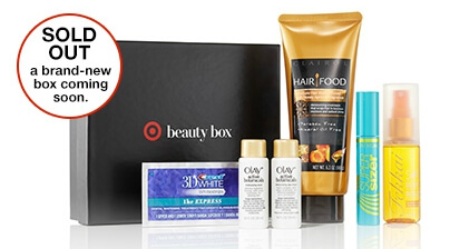 A previous sold out Target Beauty Box from the website