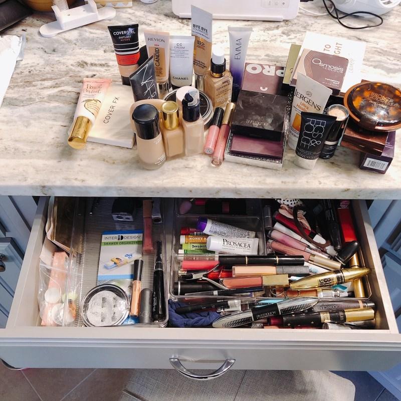 cleaning makeup vanity