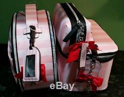 Victoria's Secret 3pc. Trio pink stripe Paris 2016 Train case set make up bag