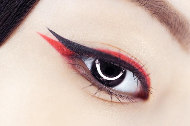 beautiful macro shot female eye creative asian makeup   graphic eyeliner hooded eyes