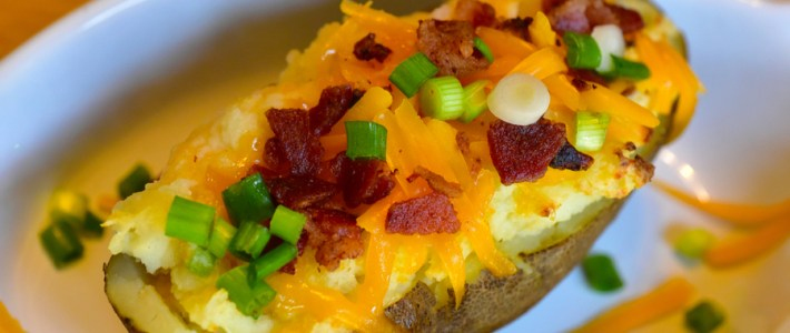 Twice Baked Potatoes – Loaded With Cheese, Bacon & Green Onions