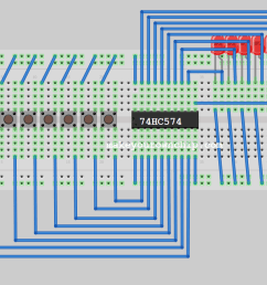 breadboard prototype circuit showing typical wire diagram of 74hc574 octal flip flop [ 1318 x 652 Pixel ]
