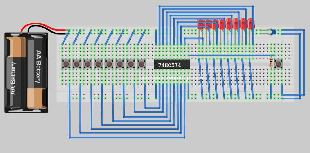 medium resolution of breadboard prototype circuit showing typical wire diagram of 74hc574 octal flip flop