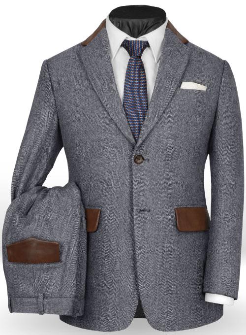 Vintage Herringbone Blue Tweed Suit  Leather Trims  MakeYourOwnJeans Made To Measure Custom
