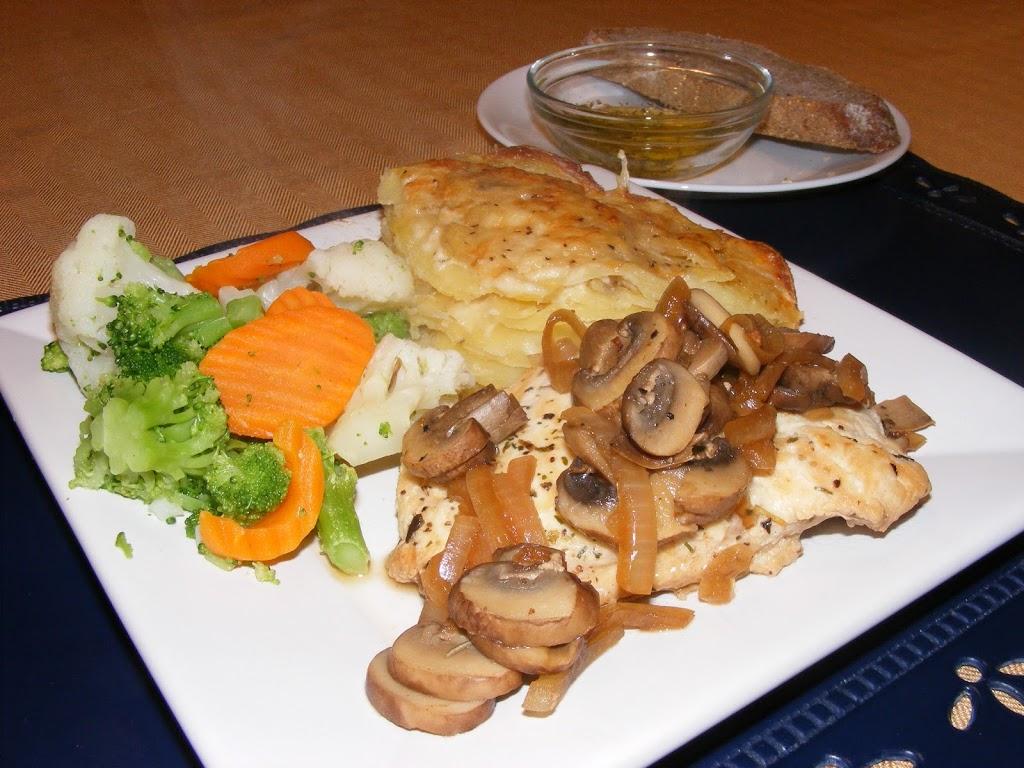 Mushroom-Herb Chicken and Potatoes Alfredo w/ Gruyere