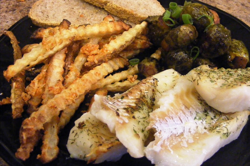 Baked Cod, Baked French Fries, and Brussels Sprouts